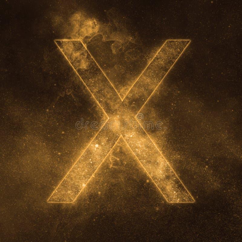 Letter X alphabet symbol. Space Letter, Night Sky Letter. Space letters stock illustration