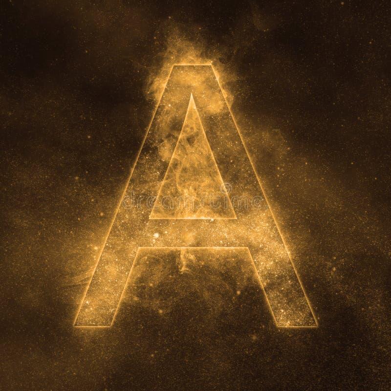 Letter A alphabet symbol. Space Letter, Night Sky Letter. Space letters stock illustration
