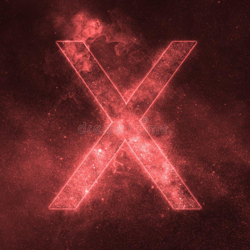 Letter X alphabet symbol. Space Letter, Night Sky Letter. Space letters vector illustration