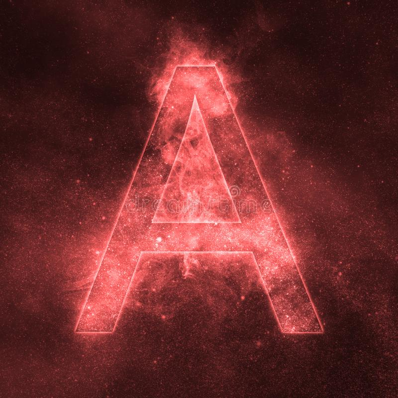 Letter A alphabet symbol. Space Letter, Night Sky Letter. Space letters royalty free illustration