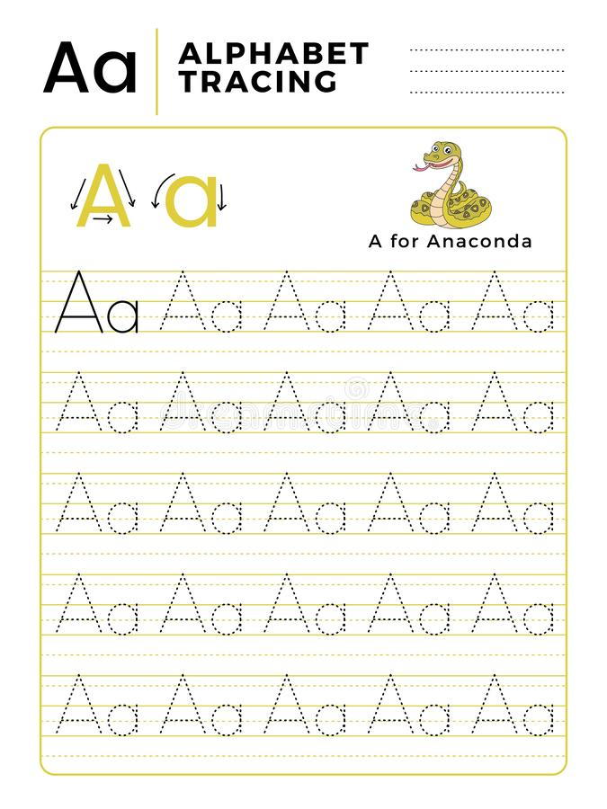 Letter A Alphabet Tracing Book with Example and Funny Anaconda Snake Cartoon. Preschool worksheet for practicing fine motor skill royalty free illustration