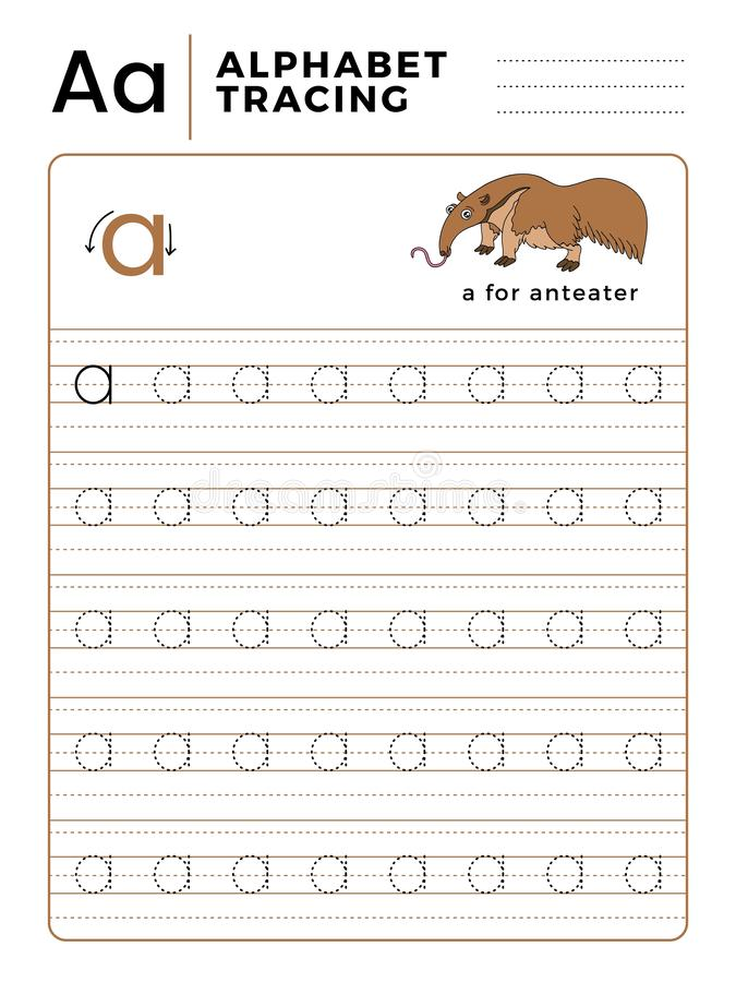 Letter A Alphabet Tracing Book with Example and Funny Anteater Cartoon. Preschool worksheet for practicing fine motor skill. royalty free illustration