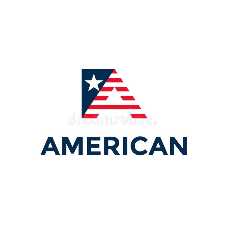 Letter A in American colors. Patriotic Usa logo design element isolated. Template trendy symbol or emblem. vector illustration
