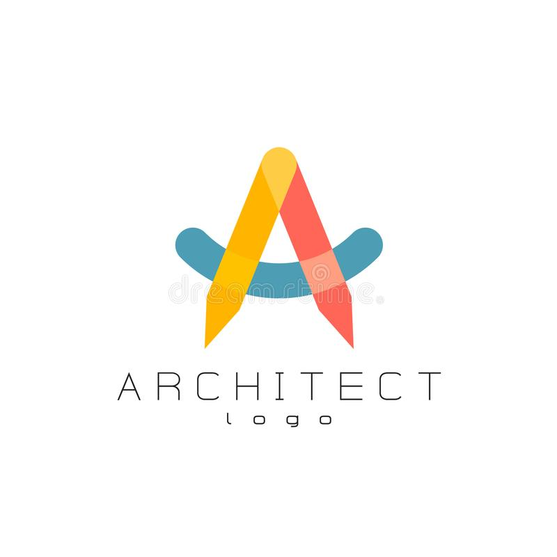 Letter A architect logo. Architect theme colorful overlay letter a logo. Transparency are flattened stock illustration