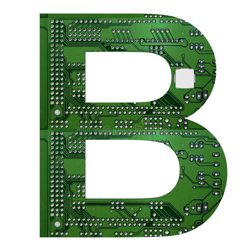 Letter B, Alphabet in circuit board style. Digital hi-tech letter isolated on white. 3d illustration.  royalty free illustration