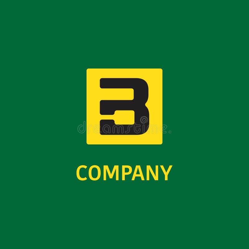 Letter B Alphabet Company Logo Design Template, Rectangle, Square Shape 库存例证