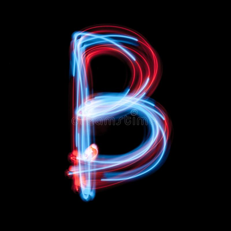 Letter B of the alphabet made from neon signs stock photos