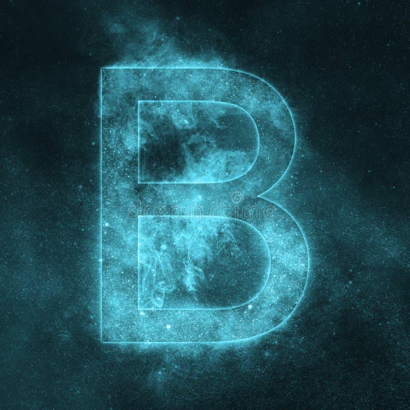 Letter B alphabet symbol. Space Letter, Night Sky Letter. Space letters vector illustration