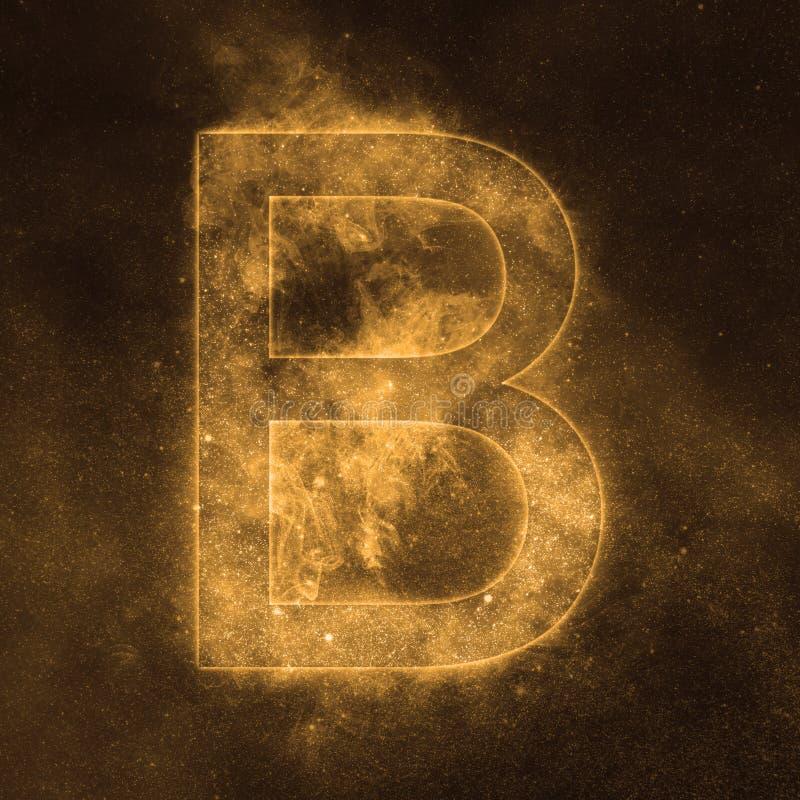 Letter B alphabet symbol. Space Letter, Night Sky Letter. Space letters stock illustration