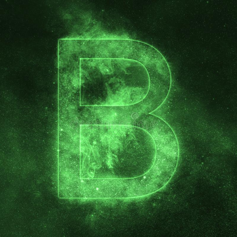 Letter B alphabet symbol. Space Letter, Night Sky Letter. Space letters royalty free illustration