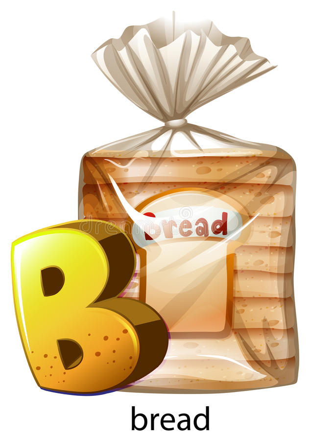 A letter B for bread. Illustration of a letter B for bread on a white background stock illustration