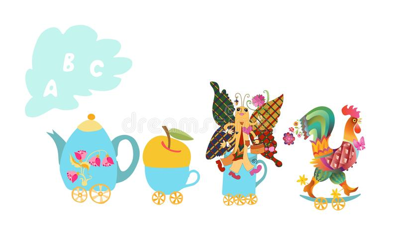 Letter A, B, C. Cute cartoon english alphabet with colorful image. Teapot and cups train. Cute cartoon english alphabet with colorful image. Teapot and cups royalty free illustration