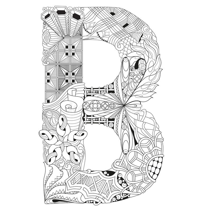 Download Letter B For Coloring Vector Decorative Zentangle Object Stock