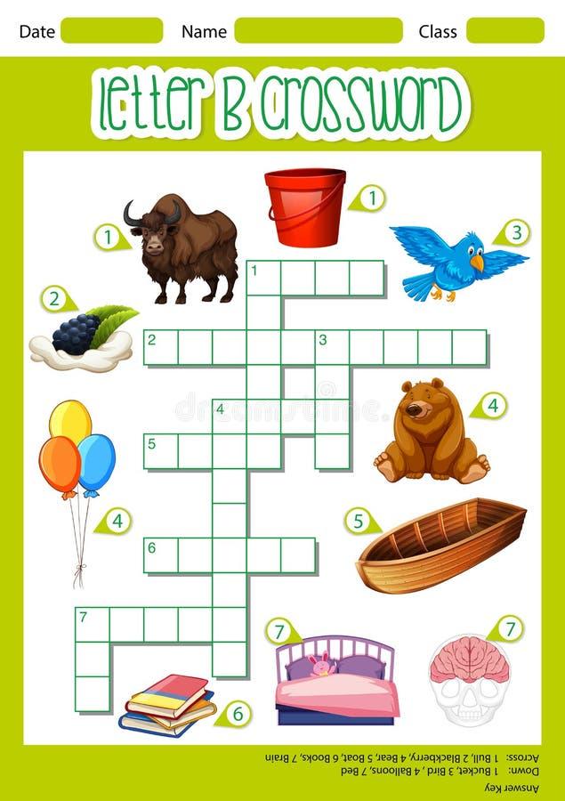 The Letter B Crossword vector illustration