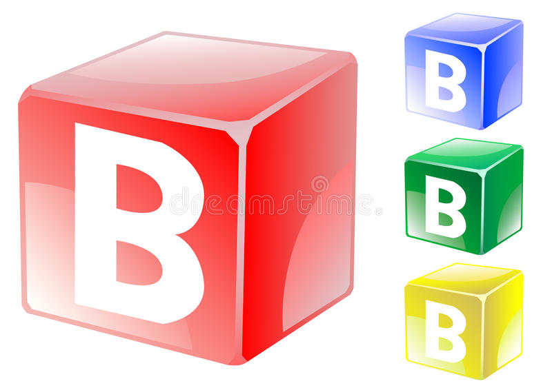 Letter b in cube stock vector Illustration of square