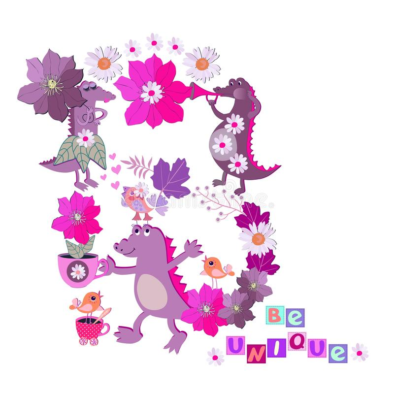 Letter `B`. Cute cartoon wild african animals, flowers and birds on white background and text `Be unique` stock illustration