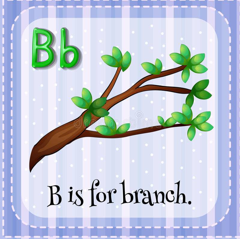 Letter B. English flashcard letter B is for branch royalty free illustration