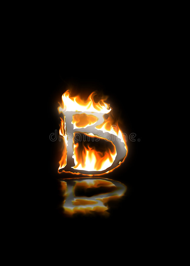 Letter b on fire stock vector. Illustration of heat ... Letter B Fire
