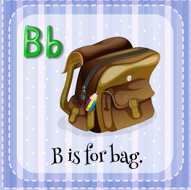 Letter B. Flashcard letter B is for bag royalty free illustration