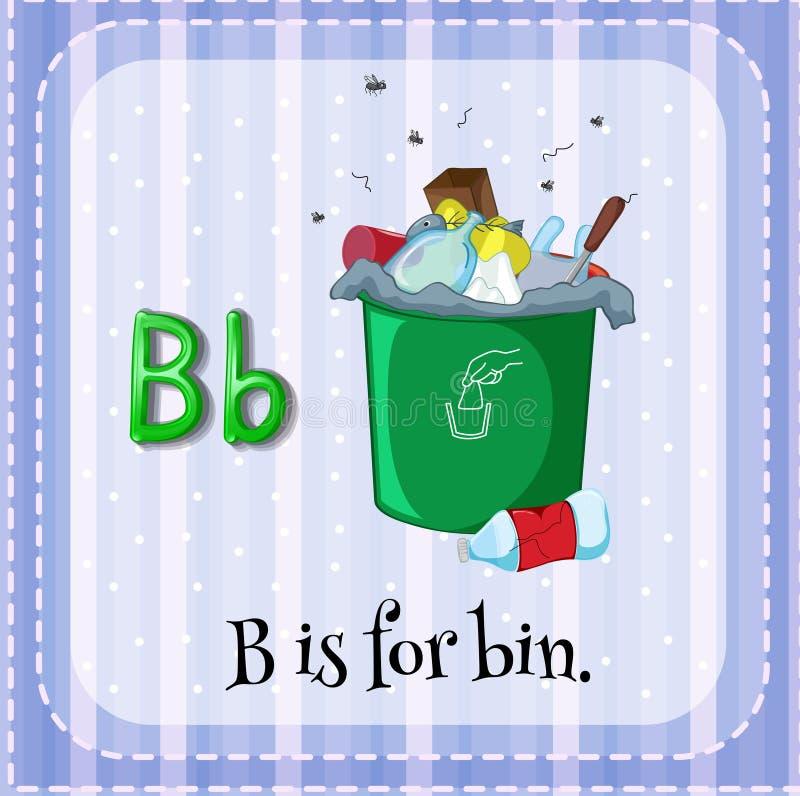 Letter B. Flashcard letter B is for bin stock illustration
