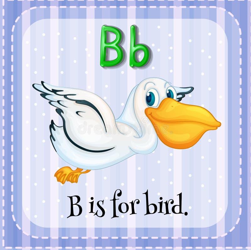 Letter B. Flashcard letter B is for bird stock illustration