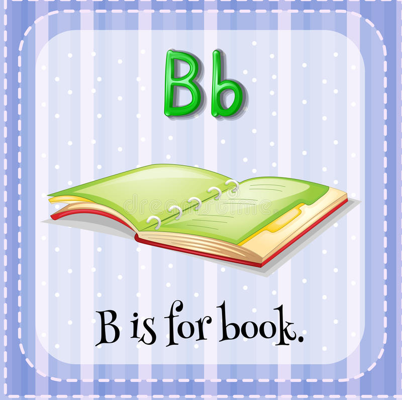Letter B. Flashcard letter B is for book stock illustration