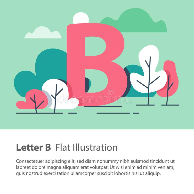 Decorative alphabet, letter B in floral background, park trees, simple font, education concept. Letter B in floral background, park trees, decorative alphabet royalty free illustration