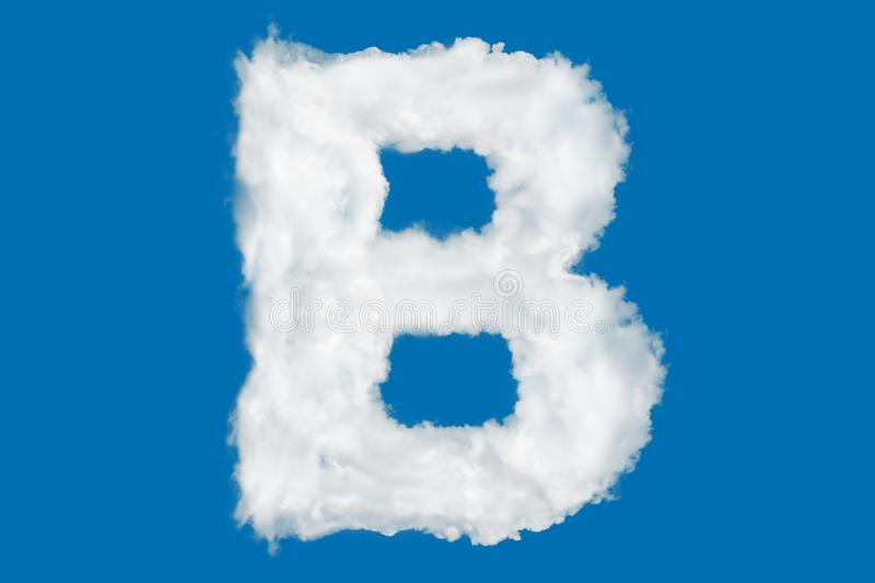 Letter B font shape element made of clouds on blue. Background over sky royalty free stock photography