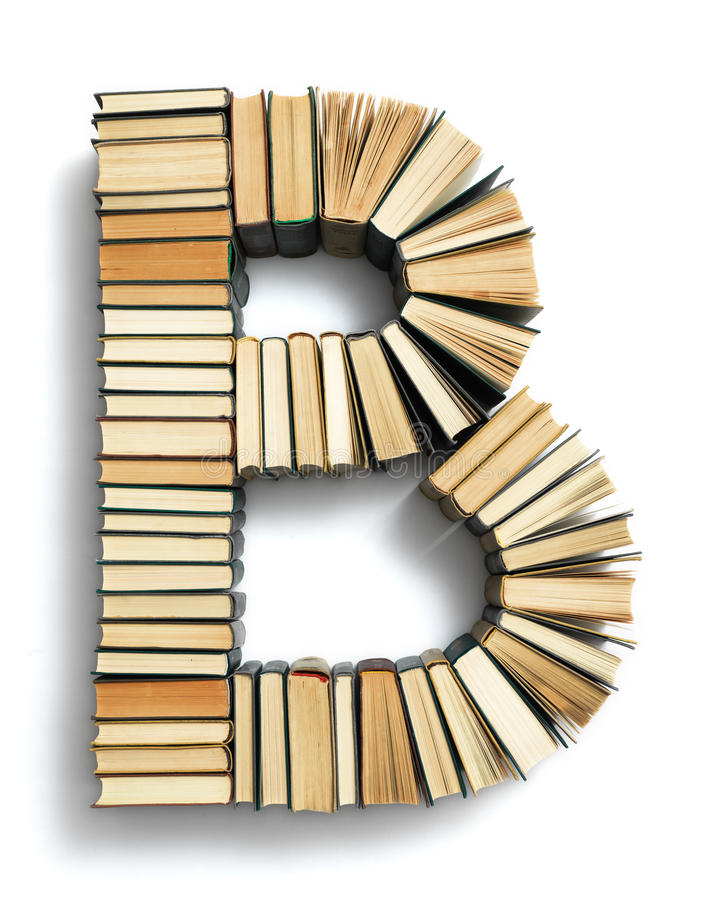 Letter B formed from the page ends of books royalty free stock image