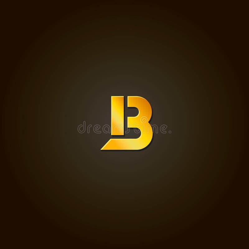 Letter B. gold font. Template for company logo stock illustration