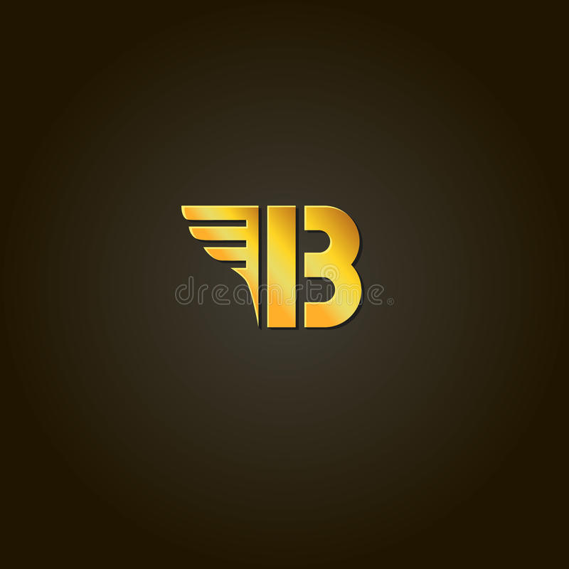 Letter B. gold font. Template for company logo royalty free illustration