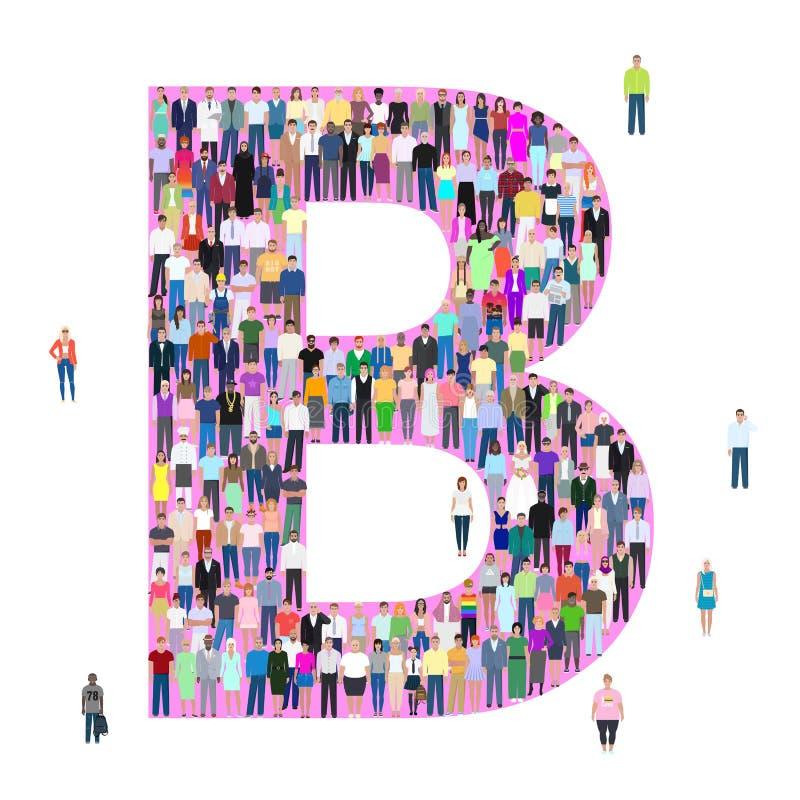 Letter B, different people, vector illustration stock illustration