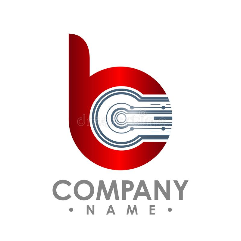 Letter B icon. Technology Smart logo, computer and data related. Business, hi-tech and innovative, electronic vector illustration