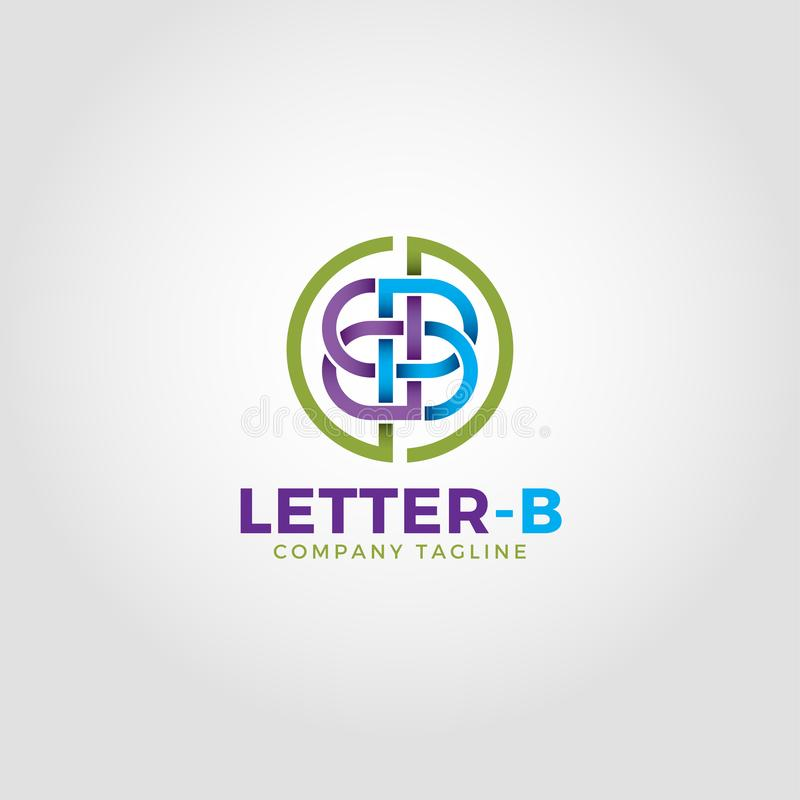 Letter B Logo is an Alphabetic Logo With Line Art style and intertwine concept royalty free illustration