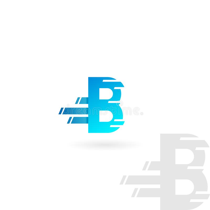 Letter B logo. Blue distorted vector icon. Speed concept font. royalty free illustration