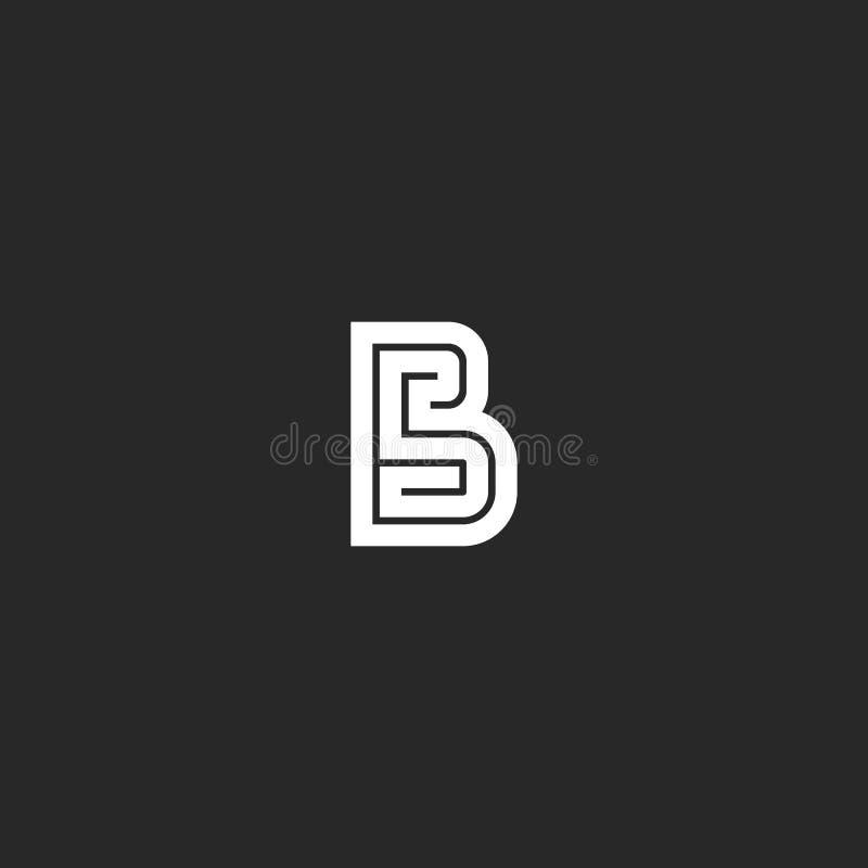 Letter B logo maze monogram, wedding invitation initials bold line emblem mockup, simple maze geometric shape design element stock illustration