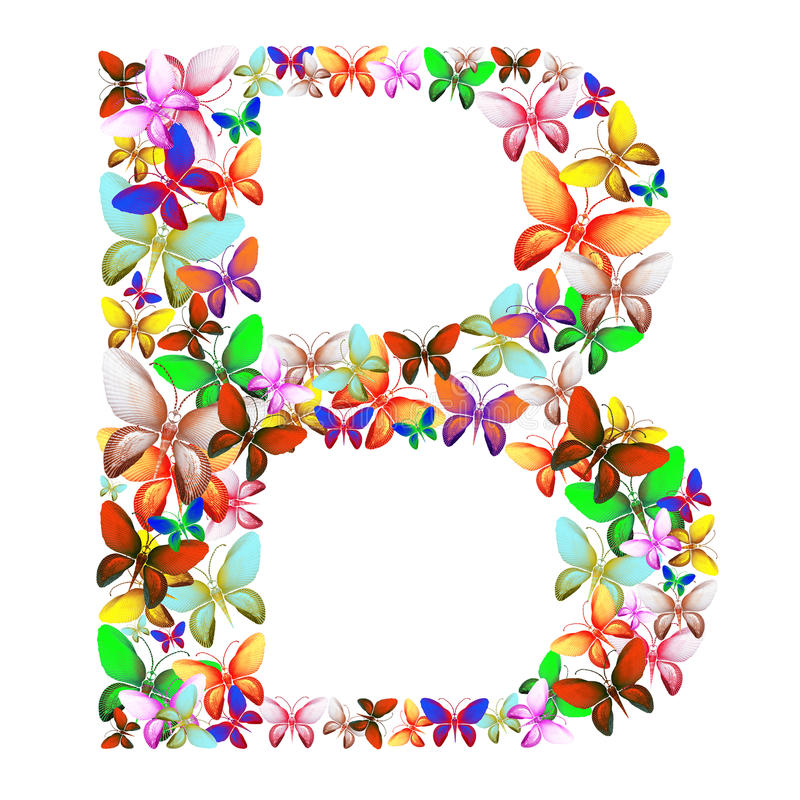Download The Letter B Made Up Of Lots Of Butterflies Of Different Colors Stock Illustration - Image: 92630119