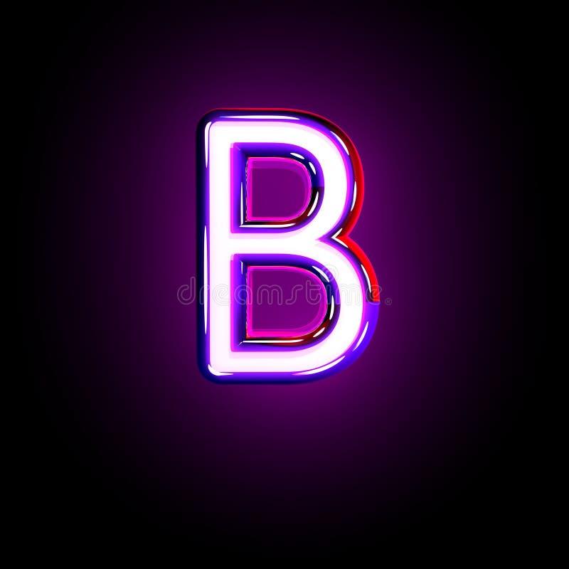 Purple shining neon font - letter B isolated on black background, 3D illustration of symbols. Letter B of neon purple glowing font isolated on black - 3D vector illustration