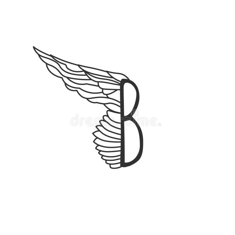 Letter B with one wing. Template for logo, label, emblem, sign, stamp. Editable stroke. Vector illustration isolated on white stock illustration