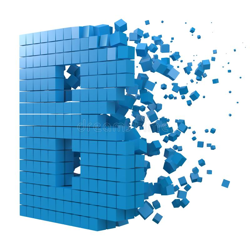 Letter B shaped data block. version with blue cubes. 3d pixel style vector illustration. Suitable for blockchain, technology, computer and abstract themes royalty free illustration