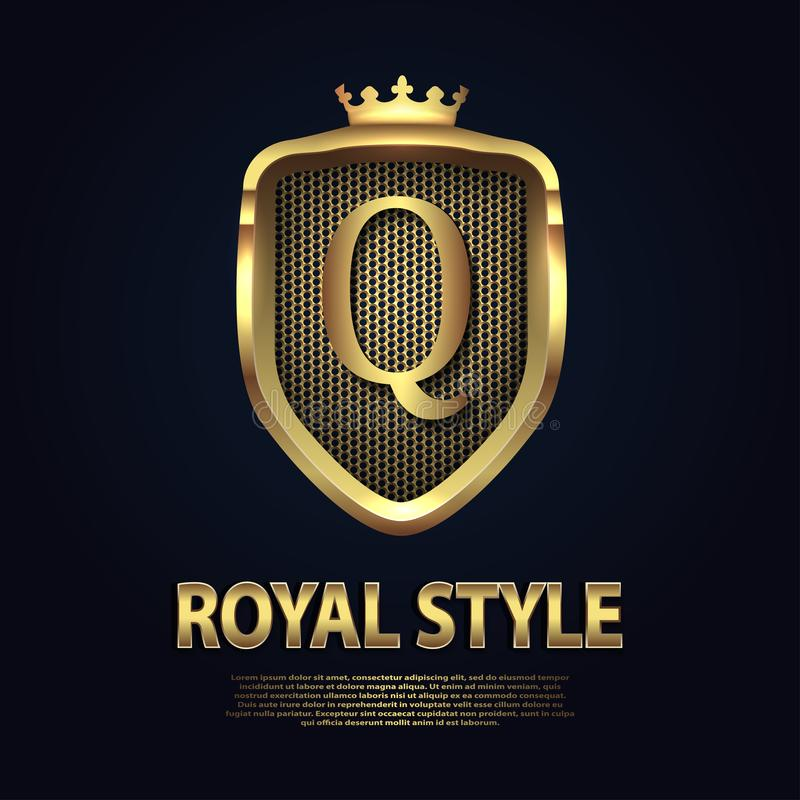 Letter Q on the shield with crown isolated on dark background. Golden 3D initial logo business vector template. Luxury royalty free illustration