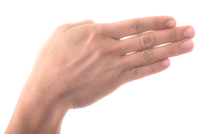 Letter 'B' in sign language, on a white background stock photography