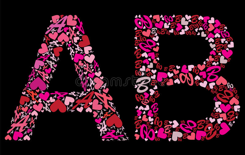 Download Letter A B Valentine Alphabet Stock Vector