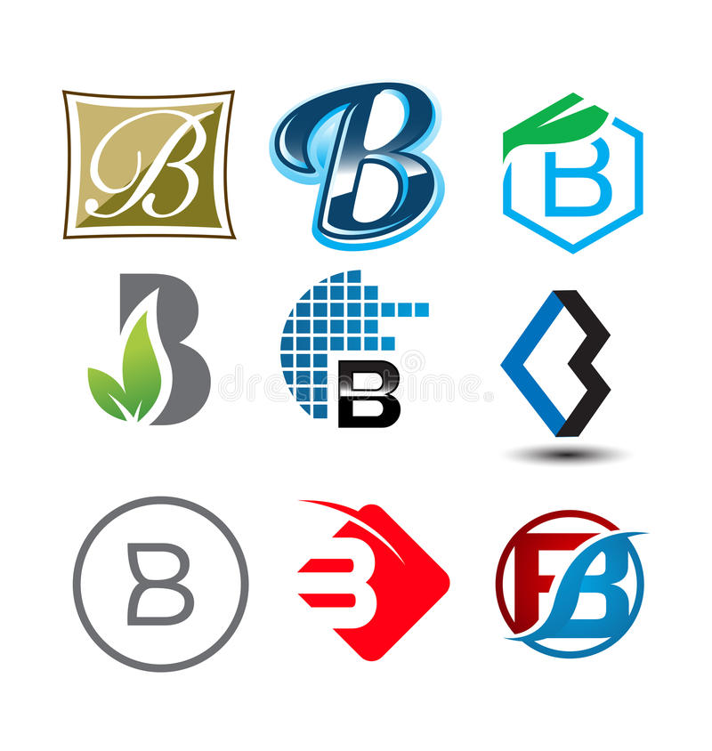 Letter `B` various great big logo pack company. Various Letter `B` big logo pack for your company royalty free illustration