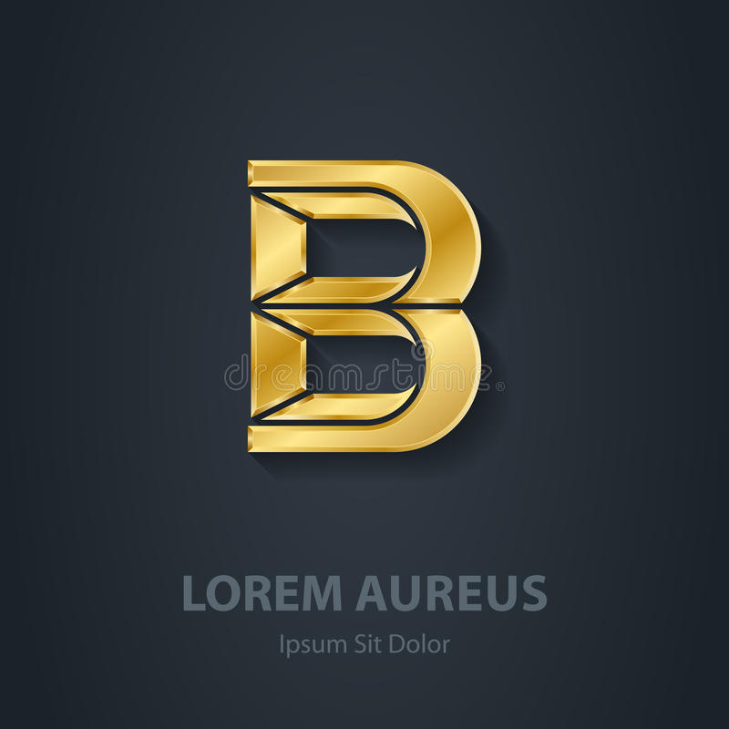 Letter B. Vector elegant gold font. Template for company logo. D stock illustration