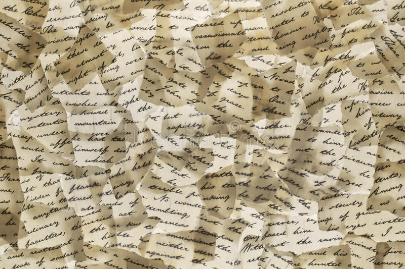 Letter Background. Background made of torn letters. Please note: the image may appear grainy, but that is the structure of the paper stock images