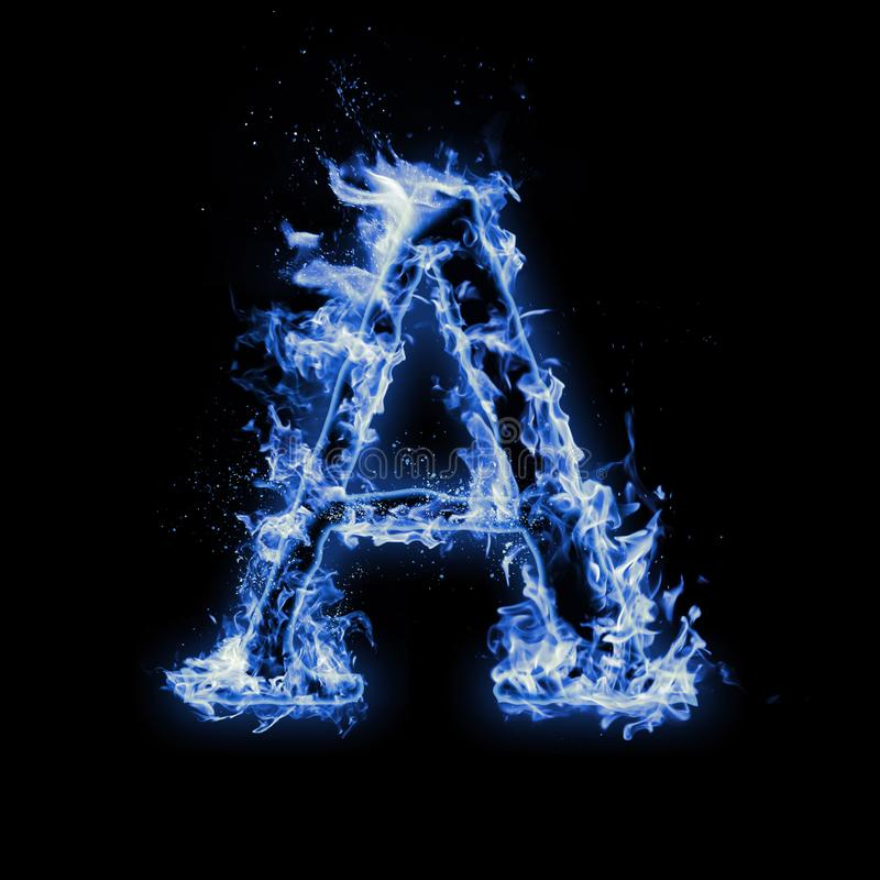 Letter A. Blue fire flames on black stock photos