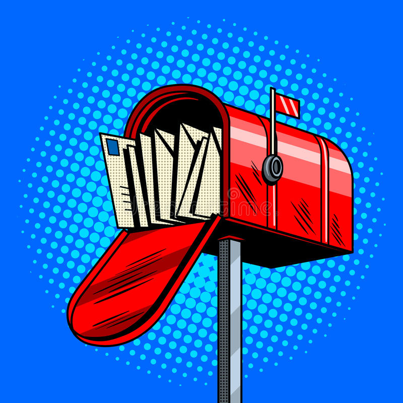 Letter box comic book style vector illustration royalty free illustration