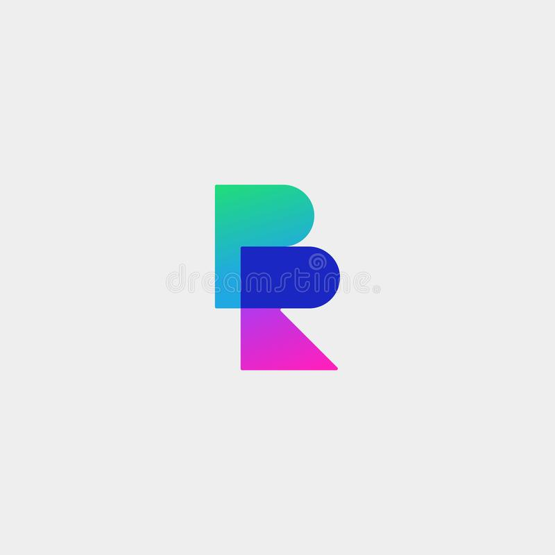 Letter BR RB R B Logo Design Simple Vector. Elegant With Gradient Colour, initial, luxury, black, brand, gold, typography, fashion, icon, business, logotype royalty free illustration