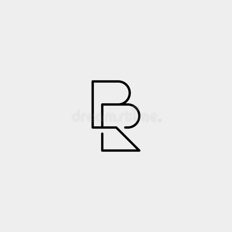 Letter BR RB R B Logo Design Simple Vector. Elegant, initial, luxury, black, brand, gold, typography, fashion, icon, business, logotype, concept, font, beauty stock illustration